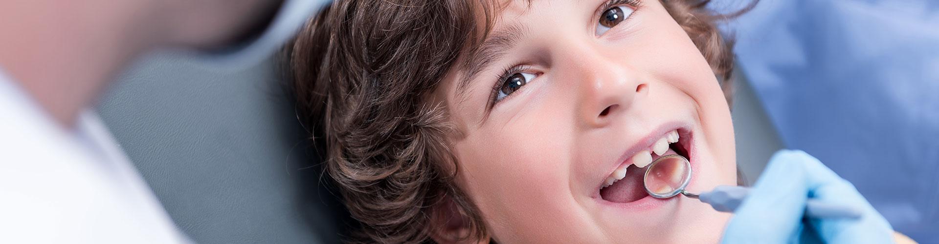 Child having dental check up