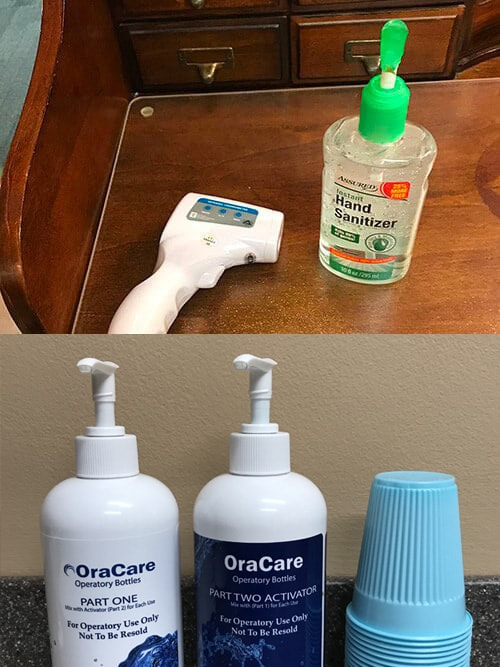 Hand sanitizer and thermometer